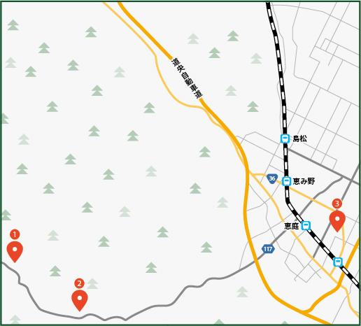 紅葉,惠庭湖,溫泉 秋季半日遊の地図画像